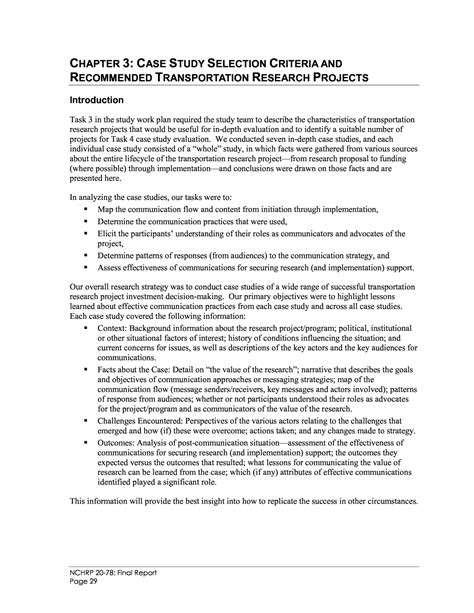 chapter  case study selection criteria  recommended transportation research projects