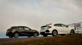 comparison test 2017 honda civic hatchback vs 2017 mazda