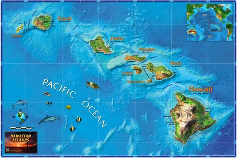 hawaii maps hawaiian islands wall map maps