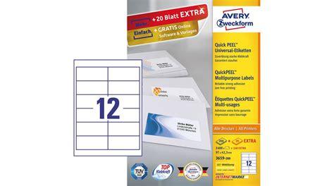 Etiketten Drucken Zweckform 3659 by 3659200 Universaletiketten 97 X 423 Mm Weiss Avery Zweckform