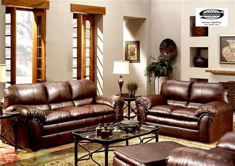 geneva classic brown leather living room set 6152s