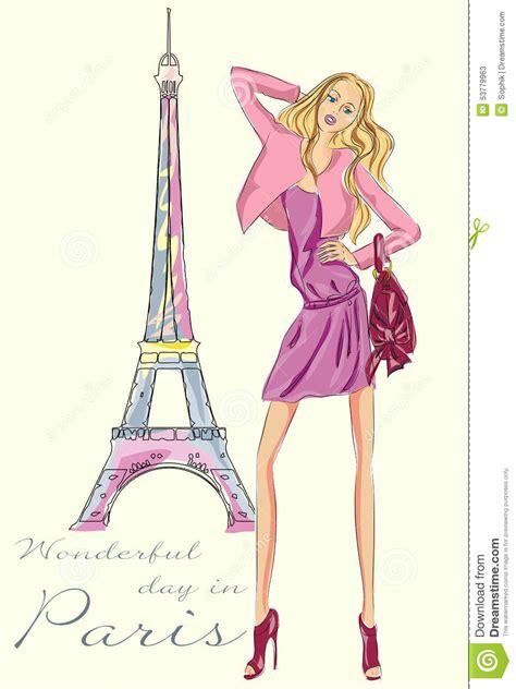 fashion illustration with background fashion in near eiffel tower stock illustration image 53779963