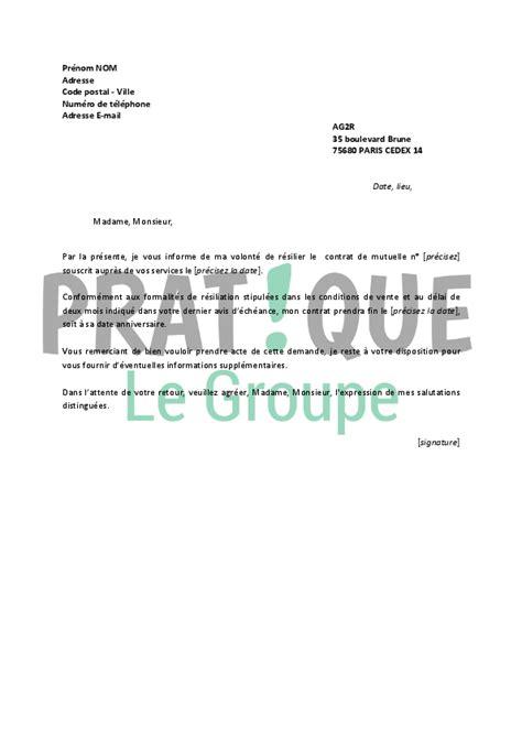 Modele Lettre Resiliation Mutuelle Pdf Lettre De R 233 Siliation Ag2r Pratique Fr