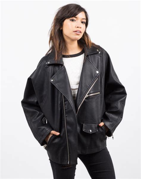 Oversized Leather Jacket   Black Jacket   Faux Leather