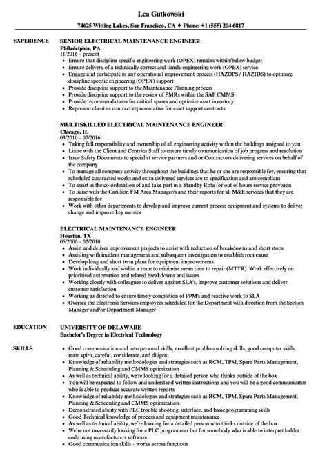 maintenance electrician resume format sle resume electrical maintenance engineer image
