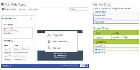 visio display shape data using javascript to display visio shape data and