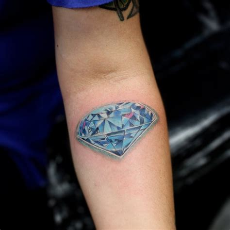 diamond tattoo with name amazing realistic diamond tattoo on forearm