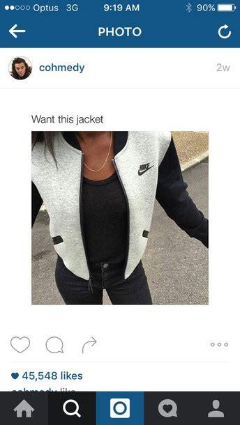 Jaket Nike Logo Black Grey jacket nike nike jacket coat black grey bomber