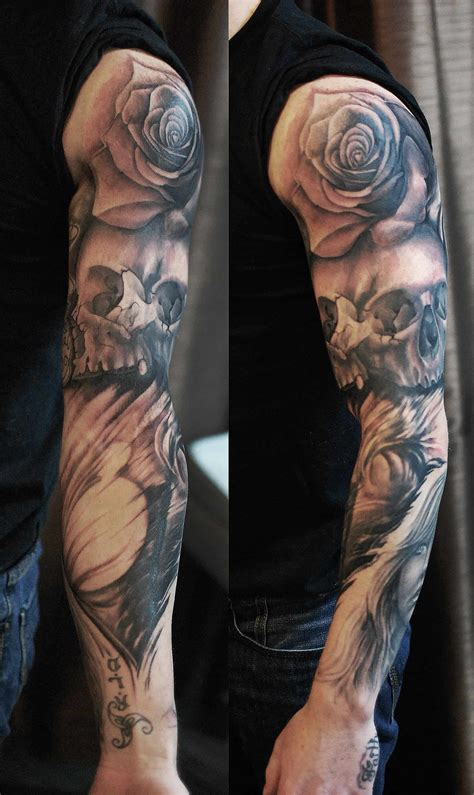 black rose sleeve tattoo sleeve black and grey and skull chronic ink
