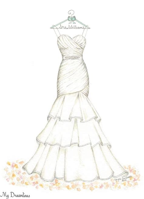 fashion design dress sketches dreamlines wedding dress sketch oneyearanniversarygift