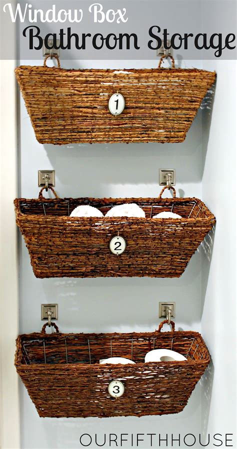 bathroom storage wicker baskets window box bathroom storage