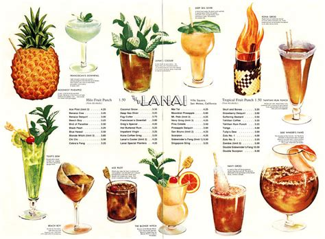 Tiki Bar Cocktails Lanai Tiki Menu Who Wouldn T Want To Drink Out Of A