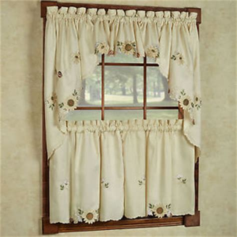 cream embroidered curtains sunflower cream embroidered kitchen curtains tiers