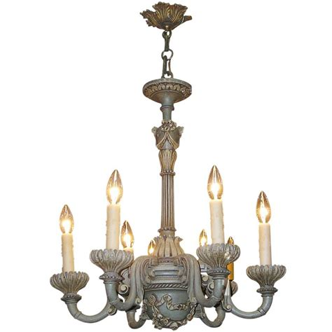 Painted Chandeliers Italian Gilt Carved Wood And Painted Chandelier At 1stdibs