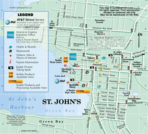 printable road map of antigua map of st john s antigua from caribbean on line