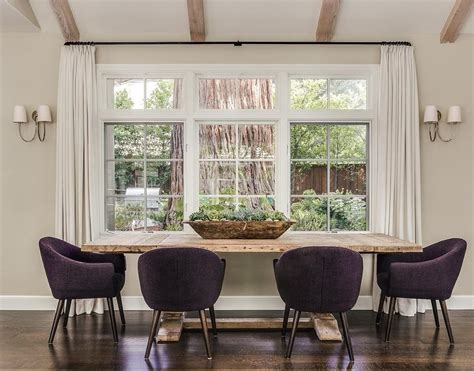 Purple Dining Room With Purple Caign Bar Table Dining Table Against Wall