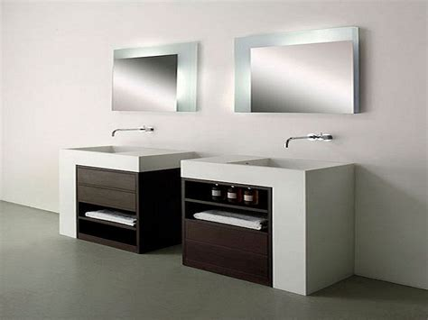 contemporary bathroom sinks and cabinet with storage unit