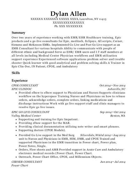 Resume Help New York epic clindoc cpoe consultant resume sle laurelton new