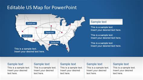 Us Powerpoint Map With Routes Slidemodel Editable Powerpoint Templates