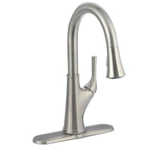 pfister cantara single handle pull down sprayer kitchen faucet in stainless steel f 529 7crs