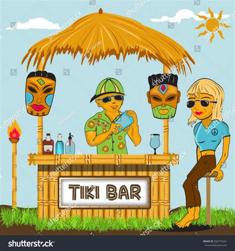 tiki hut drawing tiki bar cartoon illustration stock vector 204775261