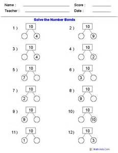 number bonds missing addends printable worksheets math