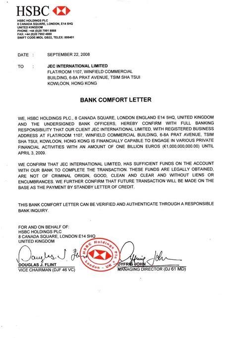 Credit Letter Hsbc bank documents ppp kingdom page 2