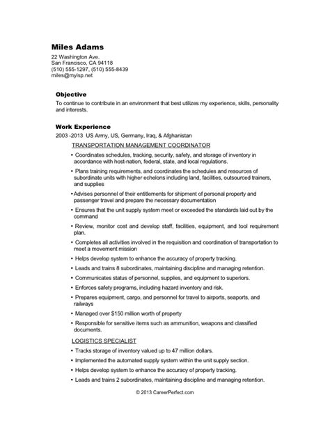 pin civilian conversion sle resume for logistics before