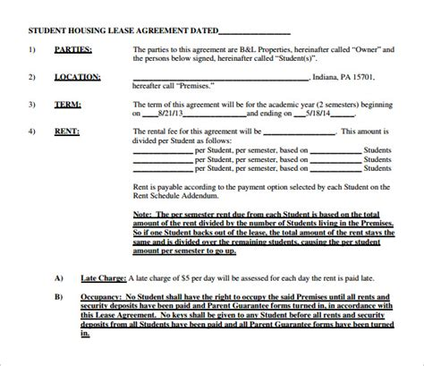 student tenancy agreement template sle house lease agreement 9 free documents in pdf word
