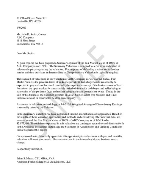 Business Valuation Letter Template valuation report sle