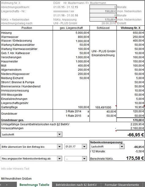 Muster Formular Nebenkostenabrechnung immobilie berechnungspaket