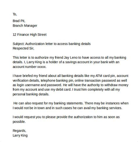 authorization letter for atm account sle letter of authorization letters 9 free