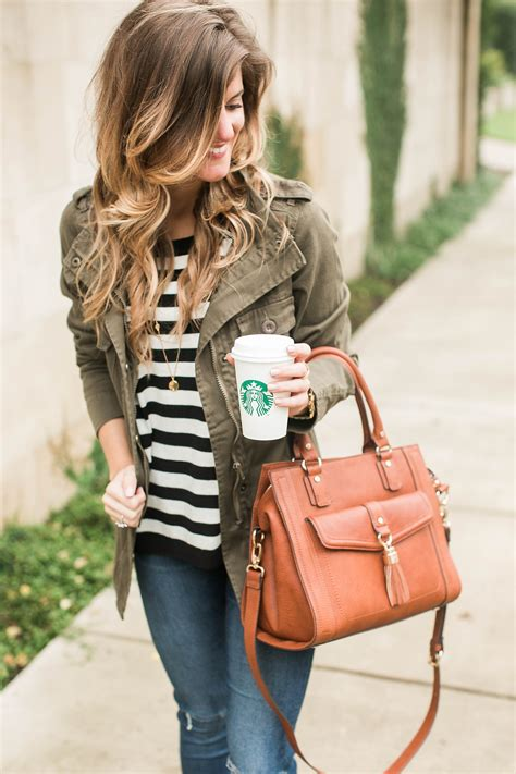 5 Inspired Jackets For Fall by Simple Fall Idea Stripes Cognac Green