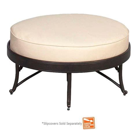 Hton Bay Edington Round Patio Ottoman With Cushion Patio Furniture Inserts