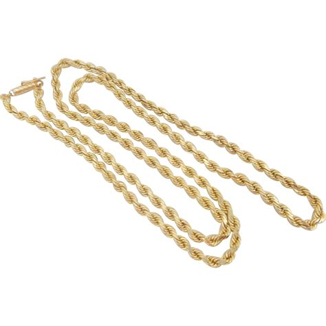estate heavyweight 14k gold 24 quot cut rope chain