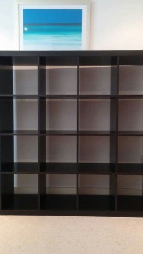 ikea black brown kallax 4x4 shelving unit for sale for