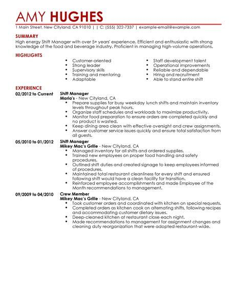 Shift Manager Duties by Shift Supervisor Resume Getessay Biz