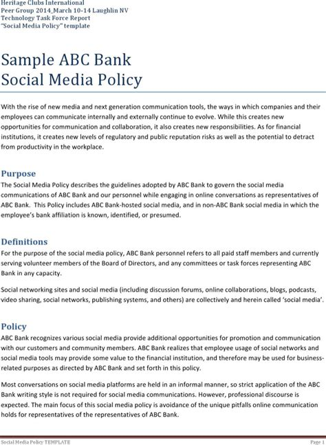 company social media policy template social media policy templates free premium