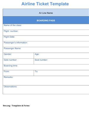 Airline Ticket Template by Airline Ticket Template 8ws Templates Forms