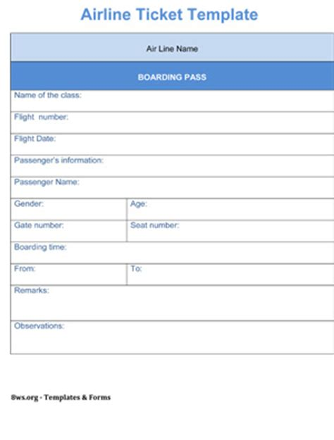 airline ticket template 8ws templates forms