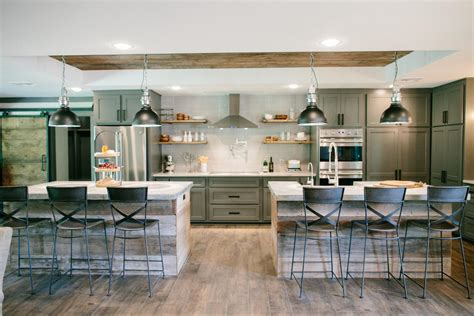 double kitchen islands kitchen pinterest fixer upper modern rustic kitchens joanna gaines and