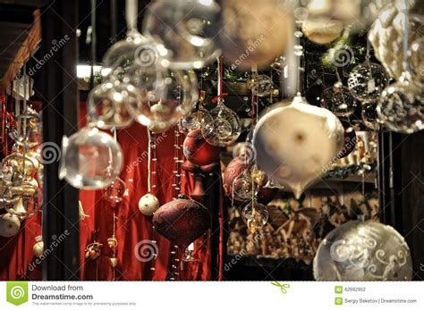close up of variety christmas decorations on sale at the