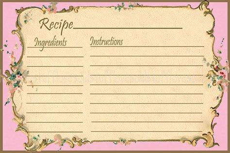 vintage recipe card template pink printable recipe card template 3x5 3 5x5 blank