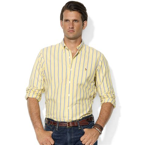 Cotton Dress Yellow Blue 30086 lyst ralph classicfit longsleeve striped cotton oxford shirt in yellow for