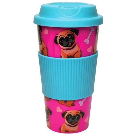 doug the pug cup doug the pug 16oz travel mug pink plastic novelty cup with lid ebay