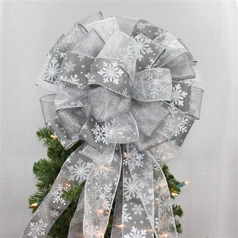 pewter silver snowflake christmas tree topper bow 13