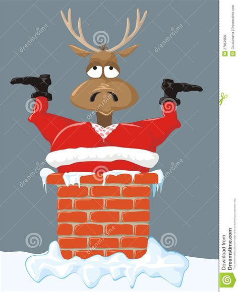 santa and reindeer on the roof stock photo image 27067950