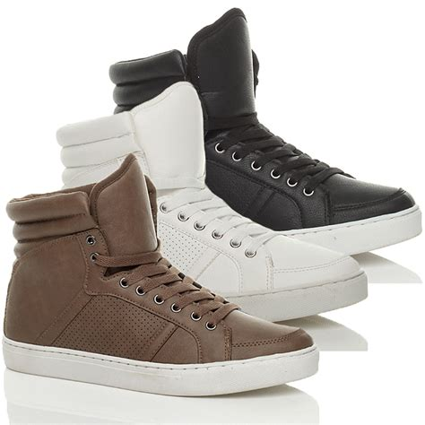 casual high top sneakers mens lace up casual flat hi high top ankle boots shoes