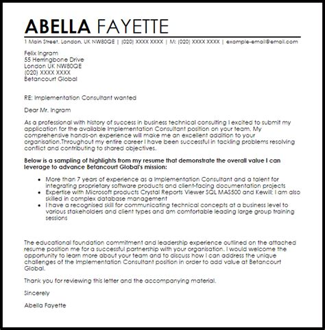 Implementation Consultant Cover Letter Sample   LiveCareer