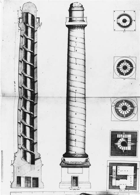 section of column a a elevations drawings section trajan s column